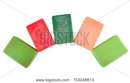 Colorful hygenic soap isolated on white background