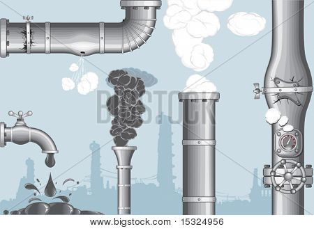 Industrial accidents.Chimney with Smog and steam ,damaged pipeline,cracked pipe, broken faucet,leakage .separate vector objects without gradients -more at my gallery