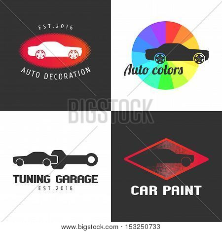 Set of car paint car parts vector icon symbol sign logo emblem. Template graphic design element for automobile garage car service shop with colors