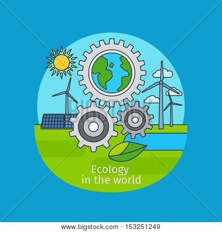 Ecology in the world, vector icon concept on blue