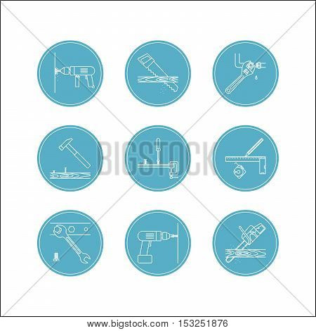 Home repair line icons. Home repair tools vector set, icons in blue circles
