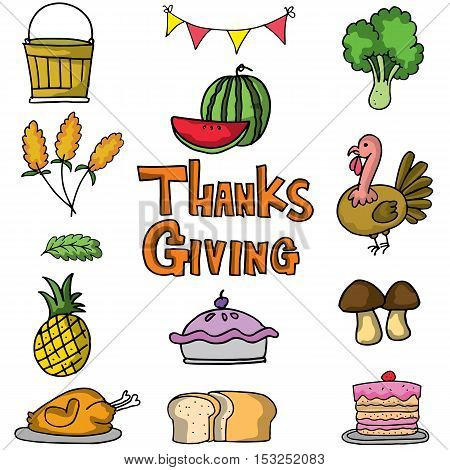Vector art thanksgiving on doodles stock collection