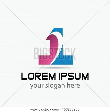 Abstract Number 1 logo Symbol icon  design vector template