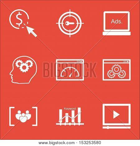Set Of Marketing Icons On Website Performance, Loading Speed And Digital Media Topics. Editable Vect