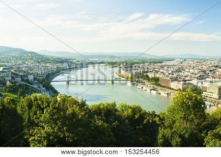 Budapest city skyline view from Gellert hill