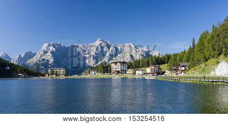 Misurina lake in Dolomites mountain landscape, Italy