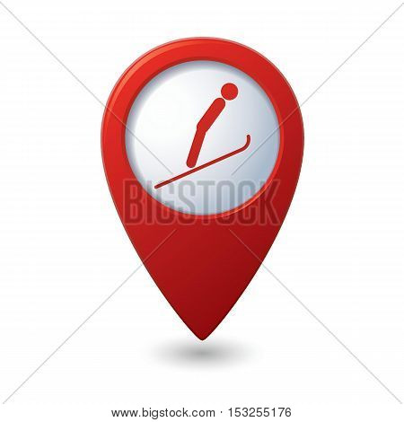 Map pointer with ski springboard icon. Vector illustration