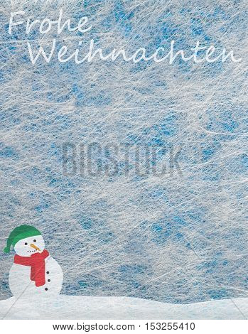 Grey fiber fabric and blue glitter film and snowman and the words Frohe Weihnachten (german words for Merry Christmas), background