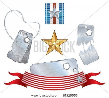 Vector soldier dogtags and design symbols