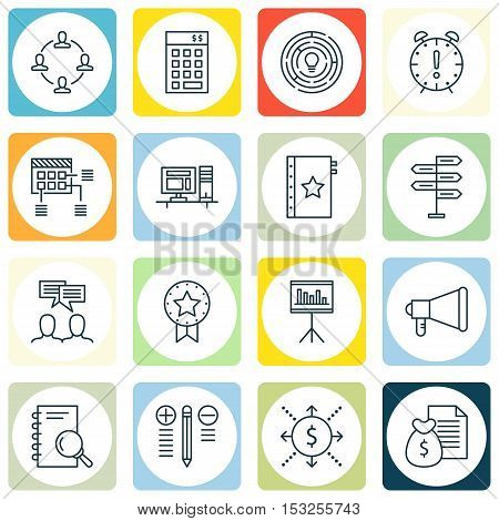 Set Of Project Management Icons On Time Management, Schedule And Announcement Topics. Editable Vecto