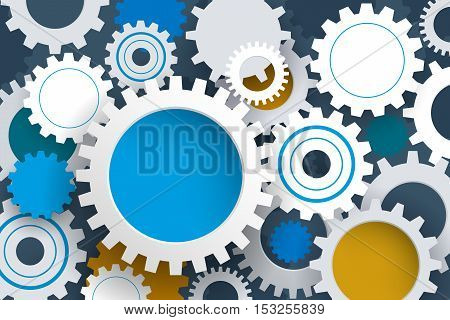 Vector illustration gear wheel. Abstract hi-tech technology and engineering background machine technology futuristic concept. Vector abstract technology on light gray color background