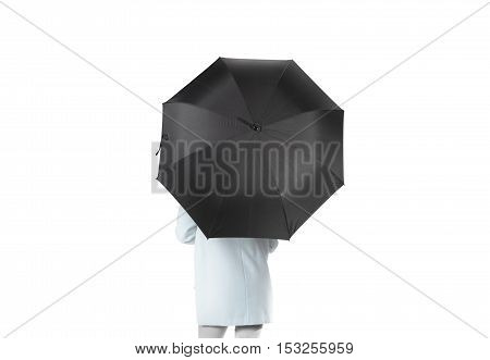 Women stand backwards with black blank umbrella opened mockup, clipping path. Female person hold clear umbel overhead. Plain surface gamp mockup. Man holding protective accesory gingham cover handle.