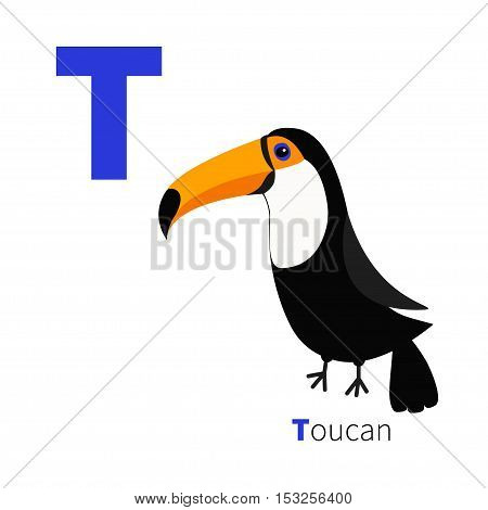 Letter T Toucan Toco Big yellow beak. Beautiful Exotic tropical bird. Baby animal collection. Cute cartoon character. Zoo alphabet. English abc Flat design. White background. Isolated. Vector