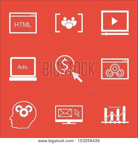 Set Of Marketing Icons On Video Player, Keyword Optimisation And Digital Media Topics. Editable Vect