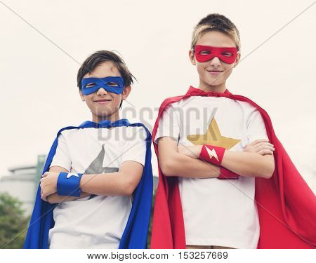 Superheroes Boys Friends Brother Buddy Concept