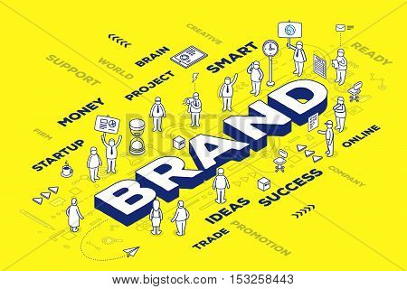 Vector Illustration Of Three Dimensional Word Brand With People And Tags On Yellow Background With S