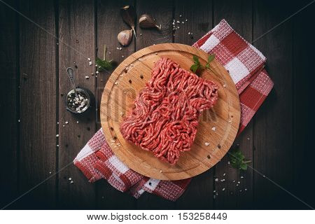 Chopped Meat On Wooden Table