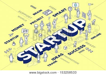 Vector Illustration Of Three Dimensional Business Word Startup With People And Tags On Yellow Backgr