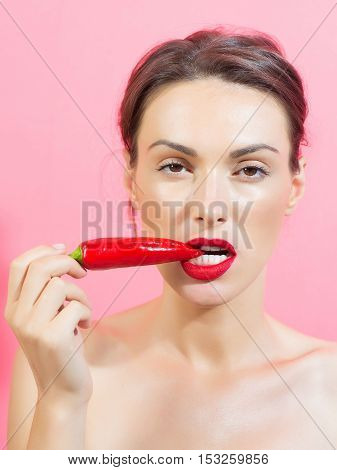 Girl With Red Chilli Pepper
