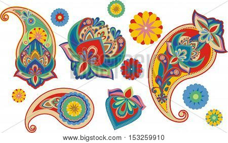 Color set os traditional Asian elements Paisley
