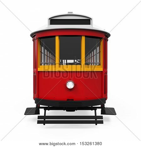 Vintage Tram isolated on white background. 3D render