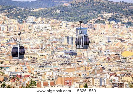Cable Car To Montjuic Hill, Barcelona, Spain