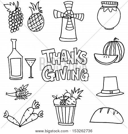 Stock thanksgiving set on doodles vector illustration