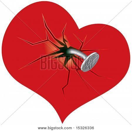 Crashed heart -vector illustration