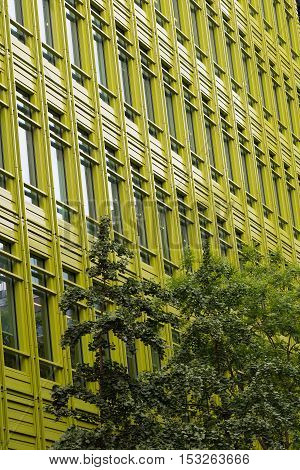 Green fronted office building in a city