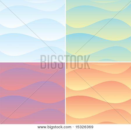 Soft colors waves backgrounds set poster