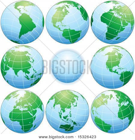 Classic globes with various angle - detailed vector illustration