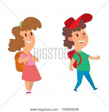 School kid character vector study, childhood happy primary education character vector. School kid education and happy school kid study