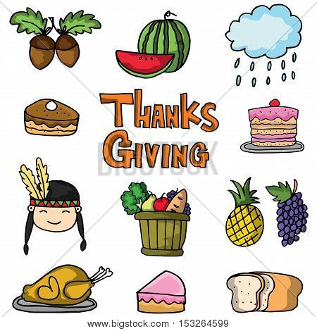 Thanksgiving set collection stock doodles vector illustration