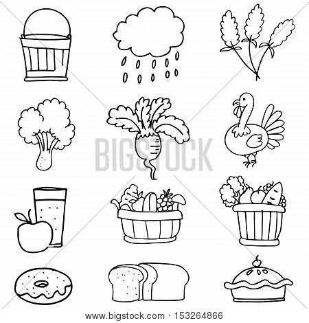Stock collection thanksgiving hand draw doodles illustration