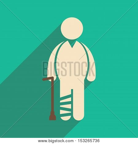 Modern flat icon with long shadow People leg fracture