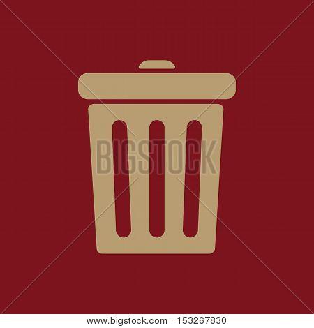 The trashcan icon. Dustbin symbol. Flat Vector illustration