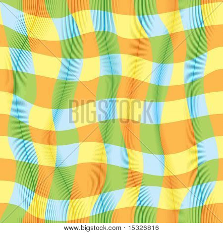 Vector gingham seamless pattern, imitation of waving fabric-no gradients, no meshes used -easy editable flat colors