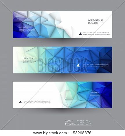 Vector abstract banners set with polygonal Geometric Triangle pattern shape. Abstract polygonal ( low poly ) with blank space. Polygon vector background for web banner template or brochure