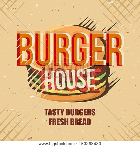 Creative logo design with burger. Vector illustration. Designed to logo, label, emblem design for fastfood menu, restaurant, snack bar or pizzeria.