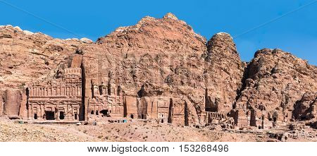 Facades of the Nabatean Kings tombs in Petra Jordan