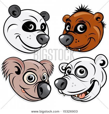 BEARS - include artwork of funky Panda, cute Brown Bear, silly Koala, angry Polar Bear