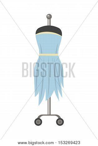 Beautiful light blue female dress on mannequin. Light blue female cocktail party dress. Dress icon. Light blue summer dress on hanger. Isolated object on white background. Vector illustration.