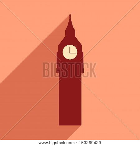 flat icon with long shadow big Ben