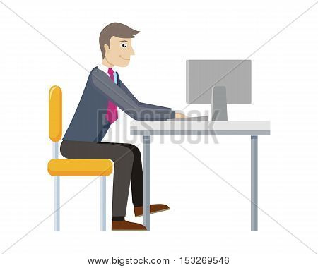 Strategic management manager working at computer isolated. Worker in office. Strategic planning, marketing, thinking, vision, business strategy, marketing and planning, finance. Vector illustration
