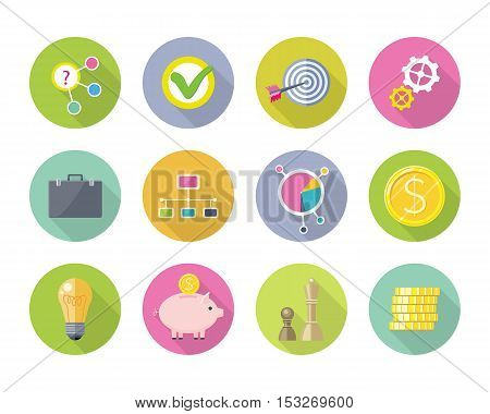 Set of business flat style vector icons. Briefcase, network, target, coin, bulb, piggybank, chess, diagram, gear, tick pictures for app buttons, infogpaphics logo web design On white background