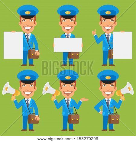 Vector Illustration, Postman Holding Paper Megaphone, Format EPS 8