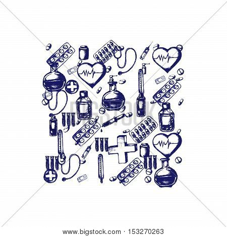 Healthcare and medicine. Vector doodle square illustration. Medical hand drawn icons. Heart shape, pills, cross, thermometer, stethoscope, syringe pipette plaster etc