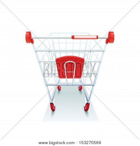 Supermarket grocery coated wire shopping pushcart with red plastic handle realistic image white background icon vector illustration