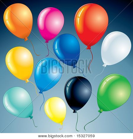 Brightly celebrating balloons for your design project- vector set