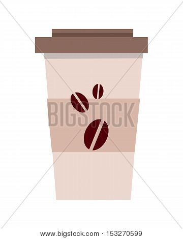 Disposable plastic coffee cup template isolated over white background. offee to go cup. Realistic paper coffee cup. Icon symbol of energetic drink. Tea, cacao, espresso, americano. Refreshing drink.